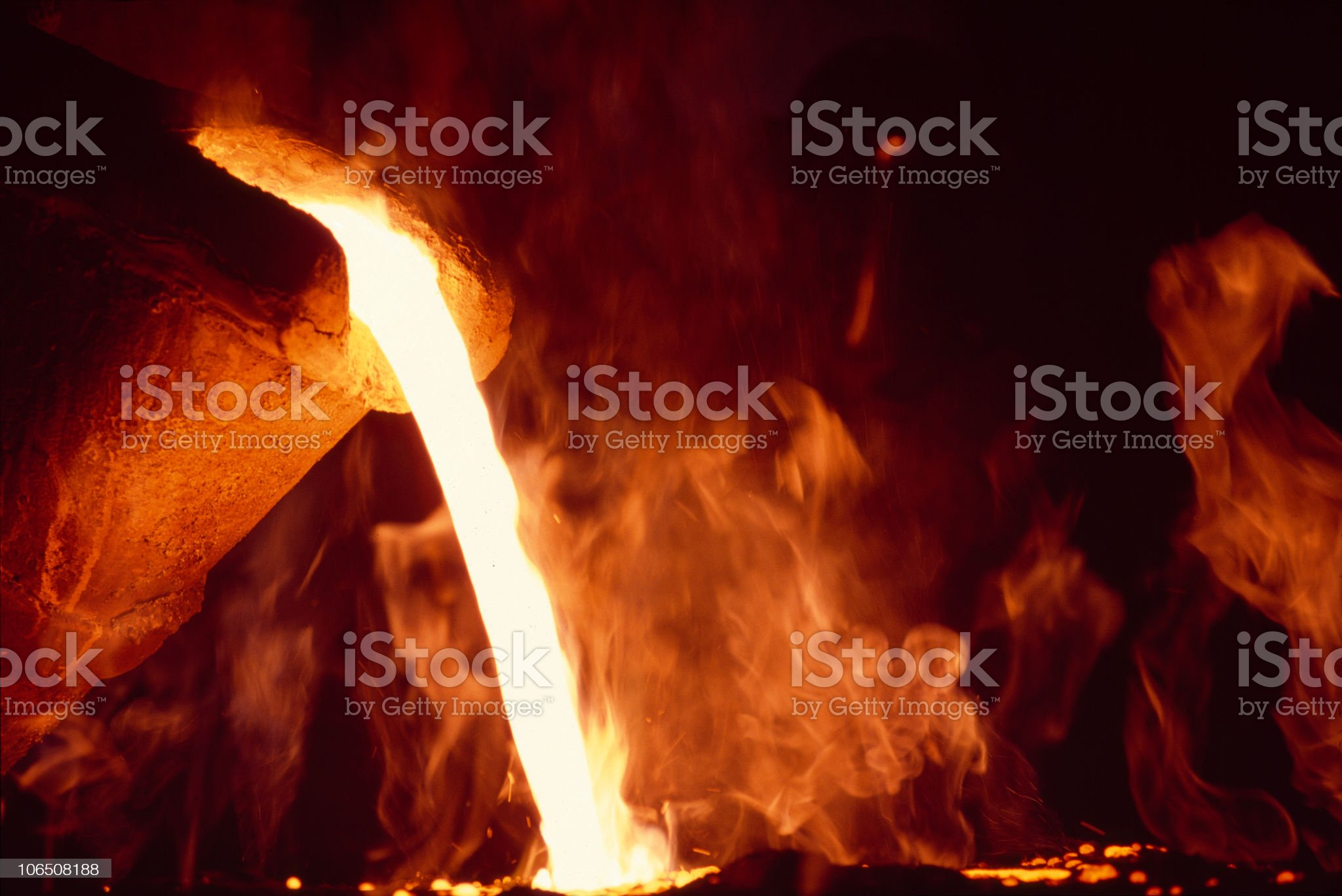 Metal industry with molten lava royalty-free stock photo