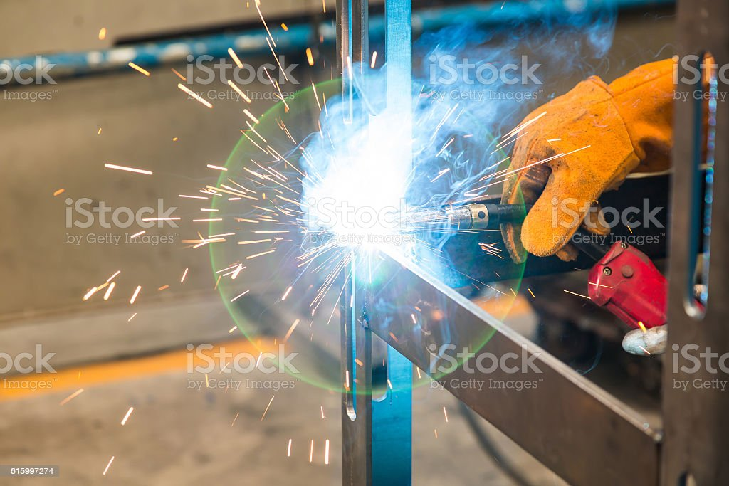 Metal inert gas (MIG) welding stock photo