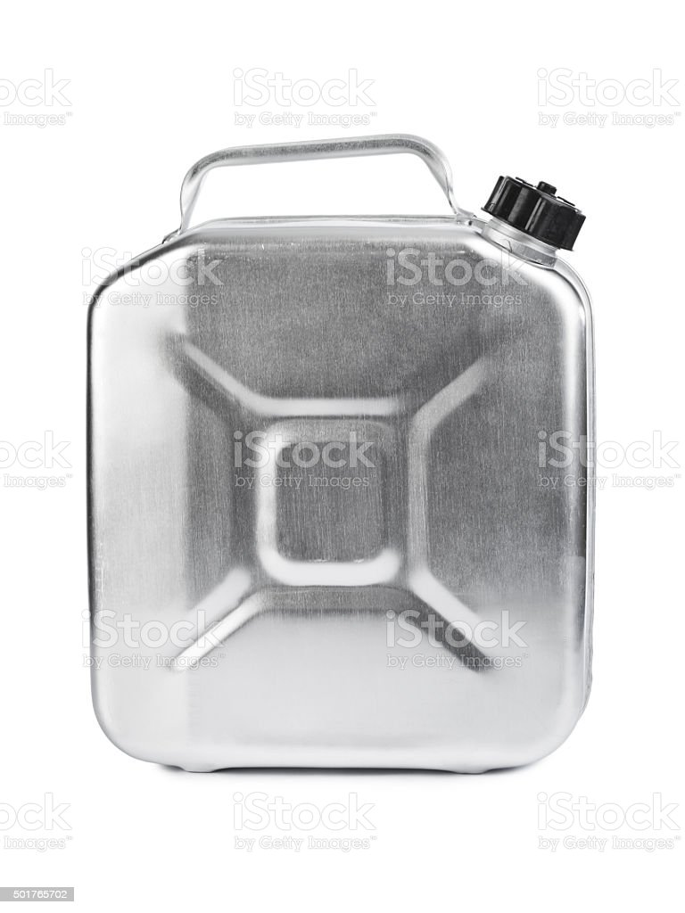 Metal jerrycan stock photo