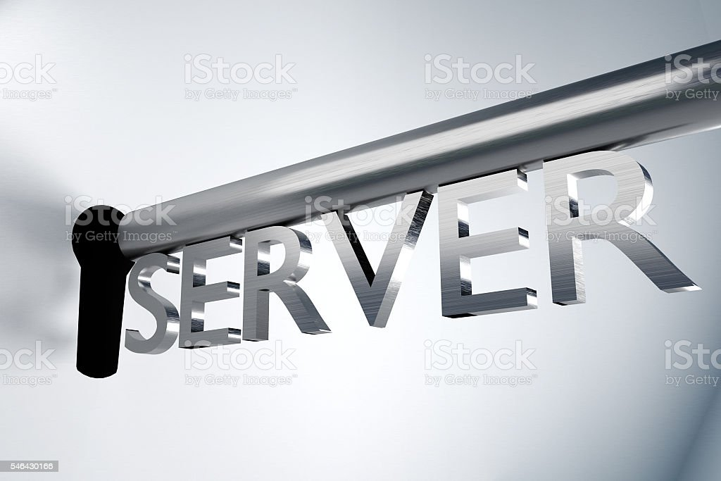 metal key server open lock keyhole 3d illustration stock photo