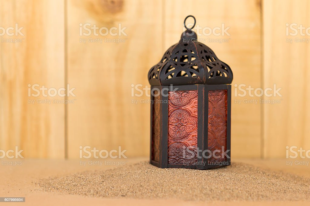 Metal lantern stock photo
