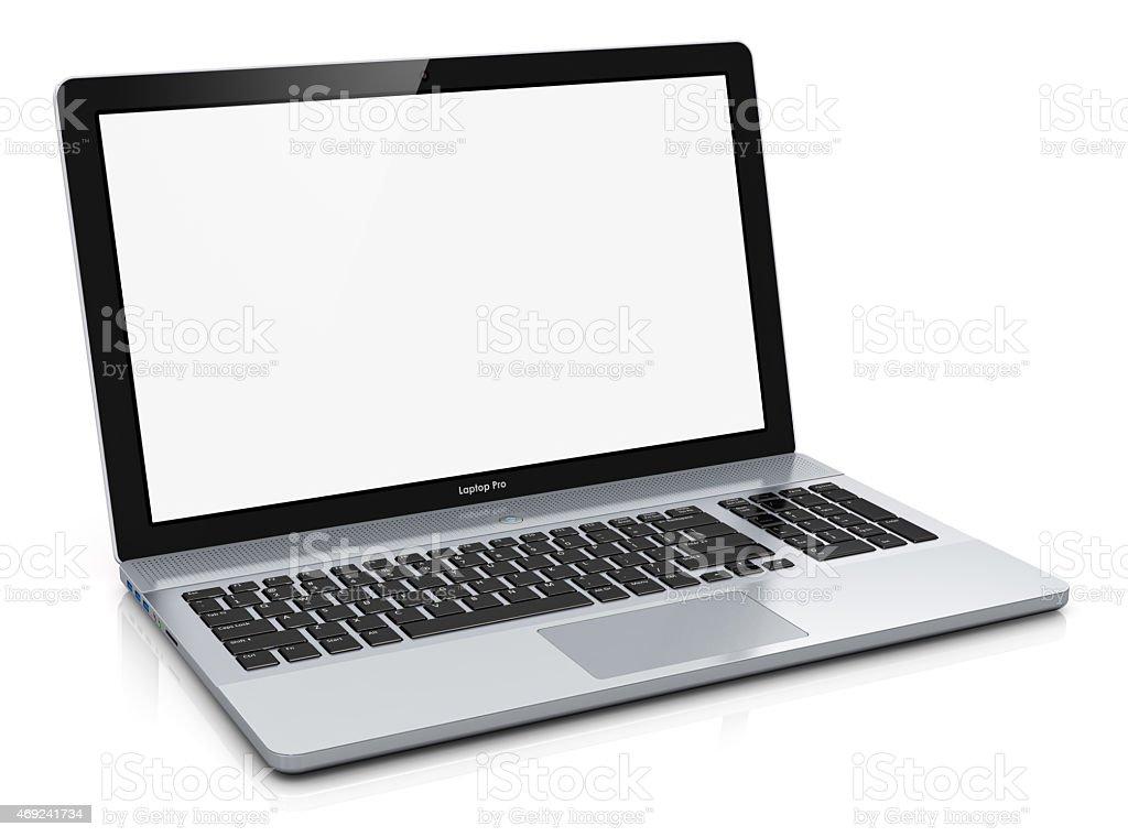 Metal laptop with blank screen stock photo