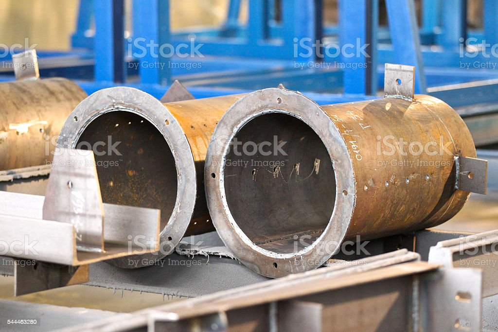 metal large-diameter pipes stock photo