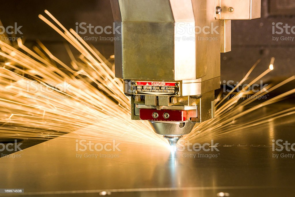Metal, laser-cutting tool. stock photo