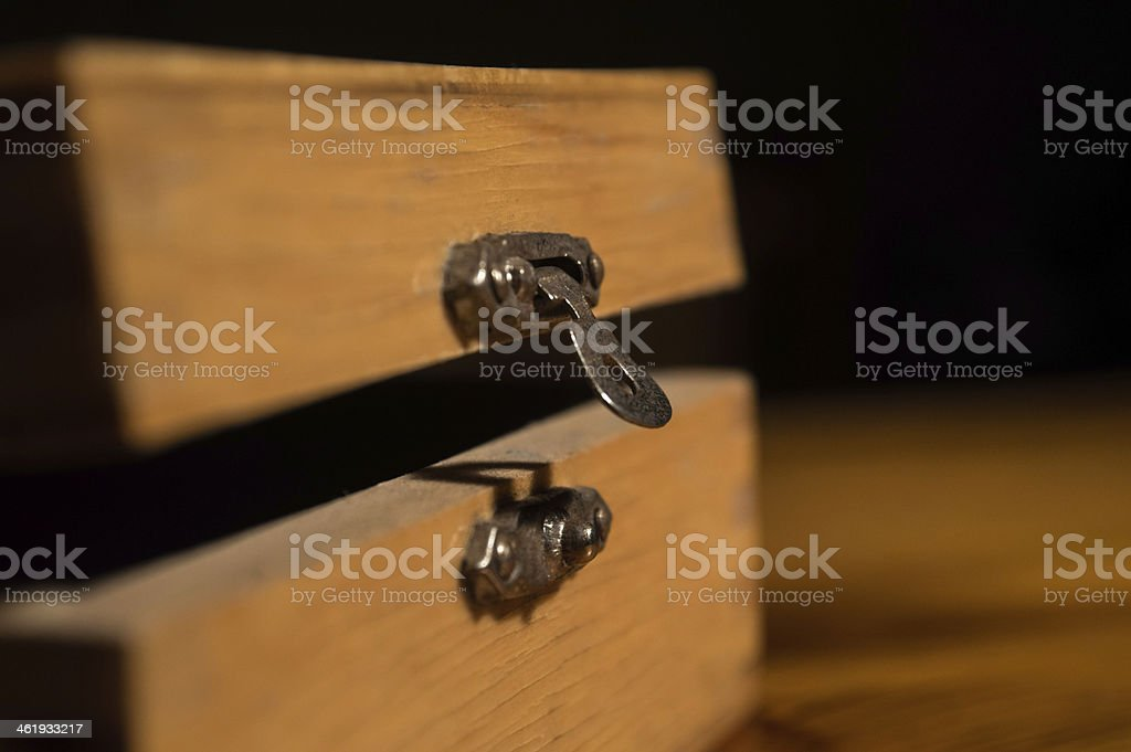 Metal Latch on an Opened Wooden Box royalty-free stock photo