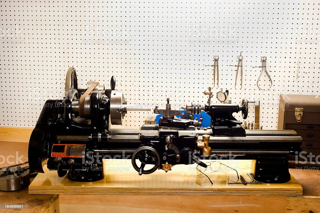 Metal Lathe in home workshop royalty-free stock photo