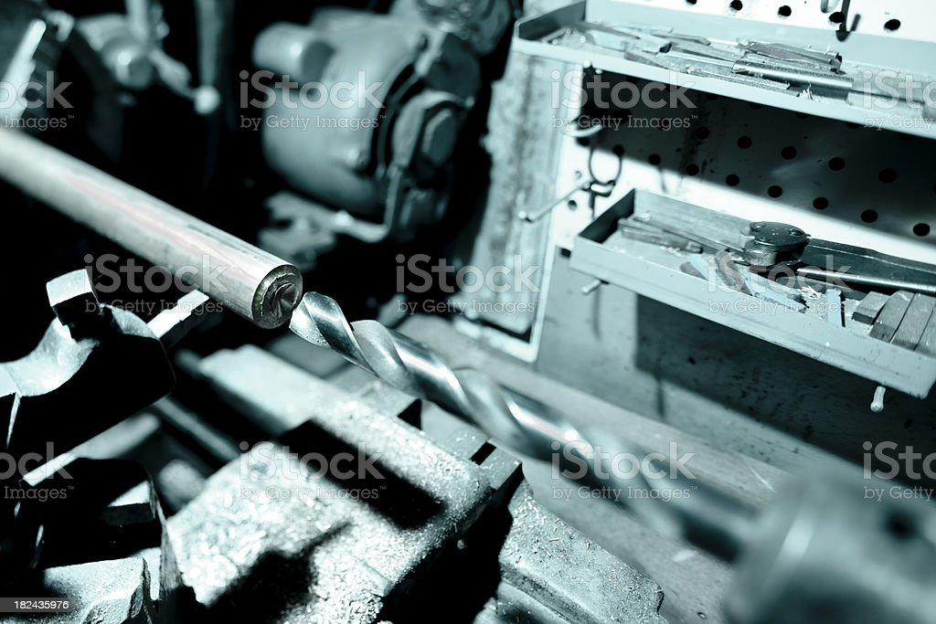 Metal lathe in workshop stock photo