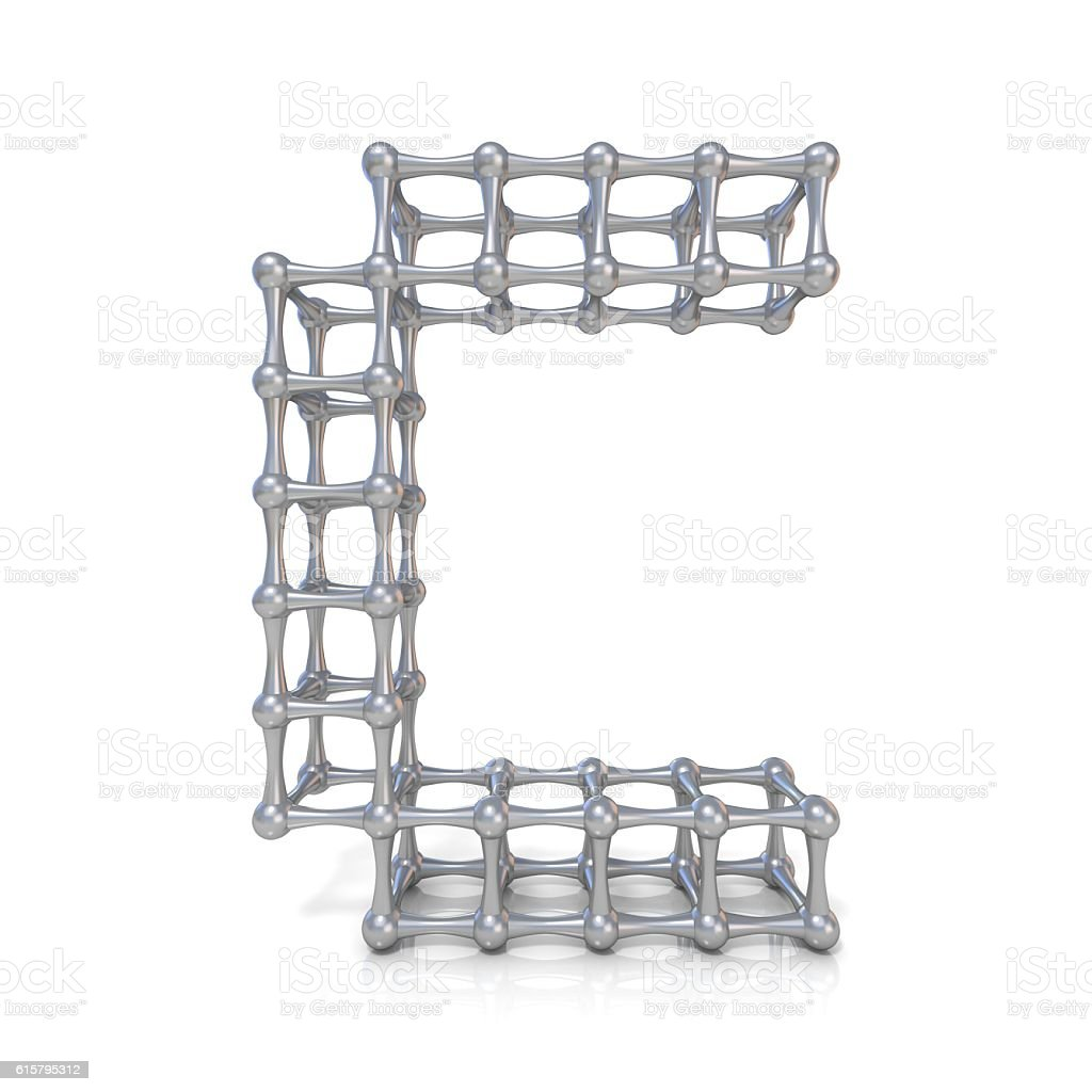 Metal lattice font letter C 3D stock photo