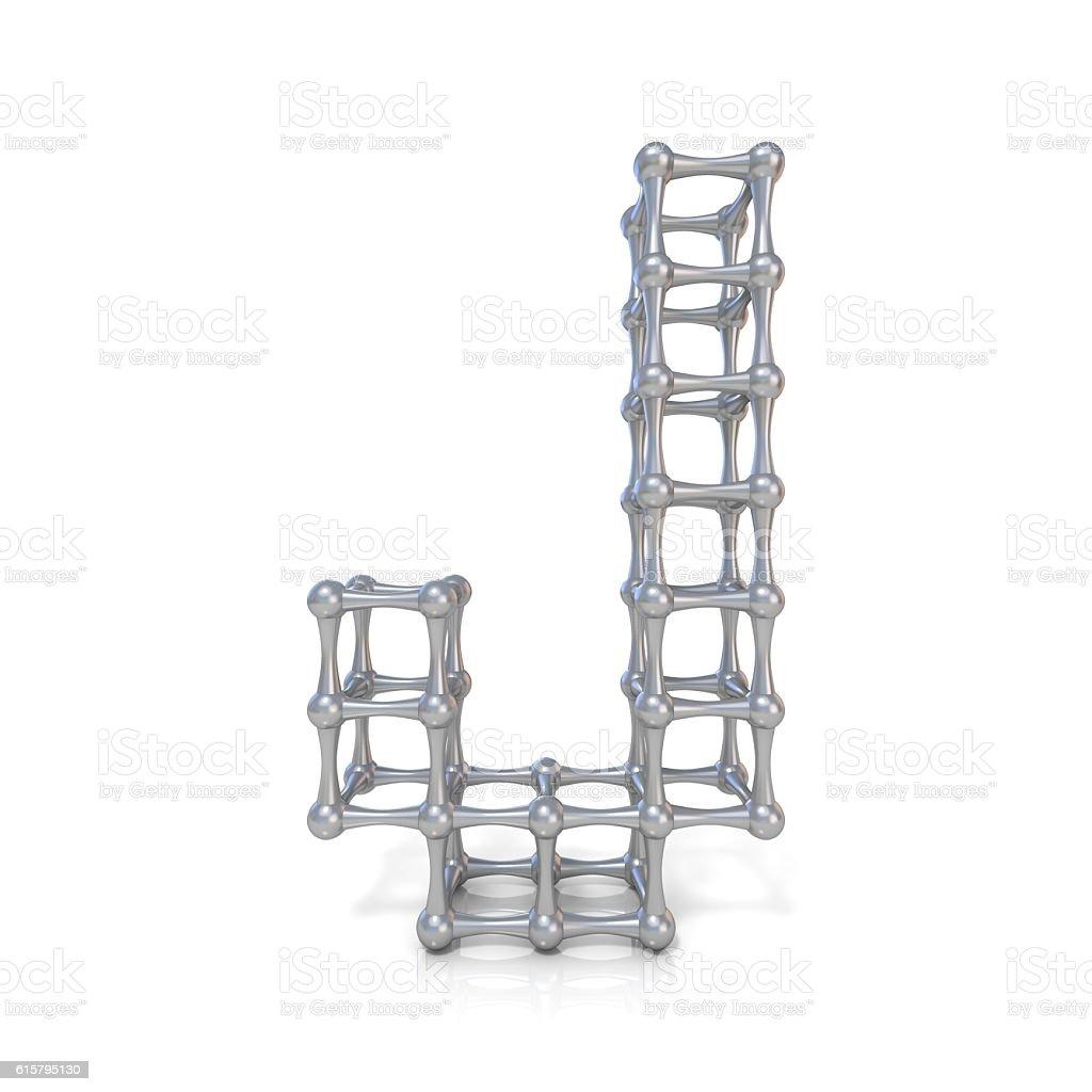Metal lattice font letter J 3D stock photo