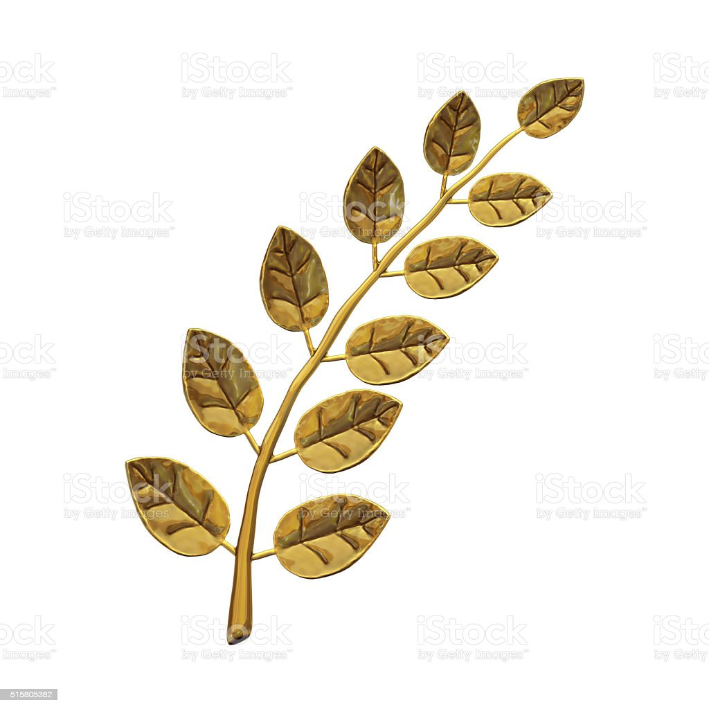 Metal laurel branch stock photo
