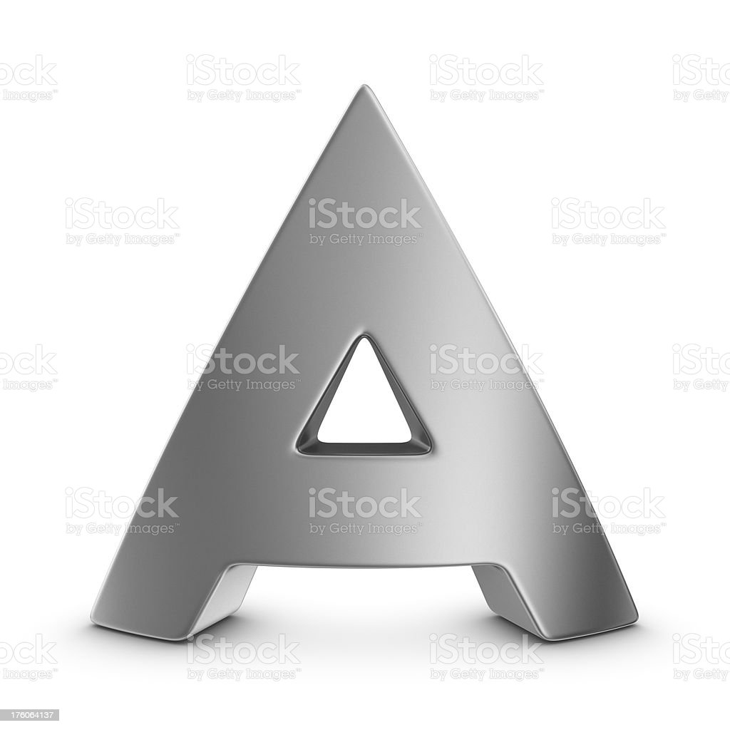 metal letter A stock photo
