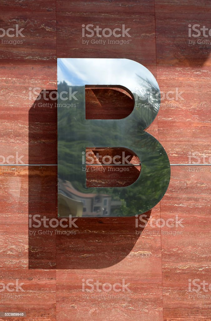 Metal letter B stock photo