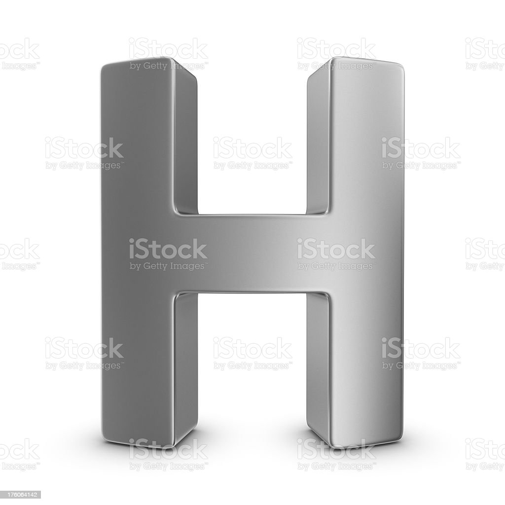 metal letter H stock photo