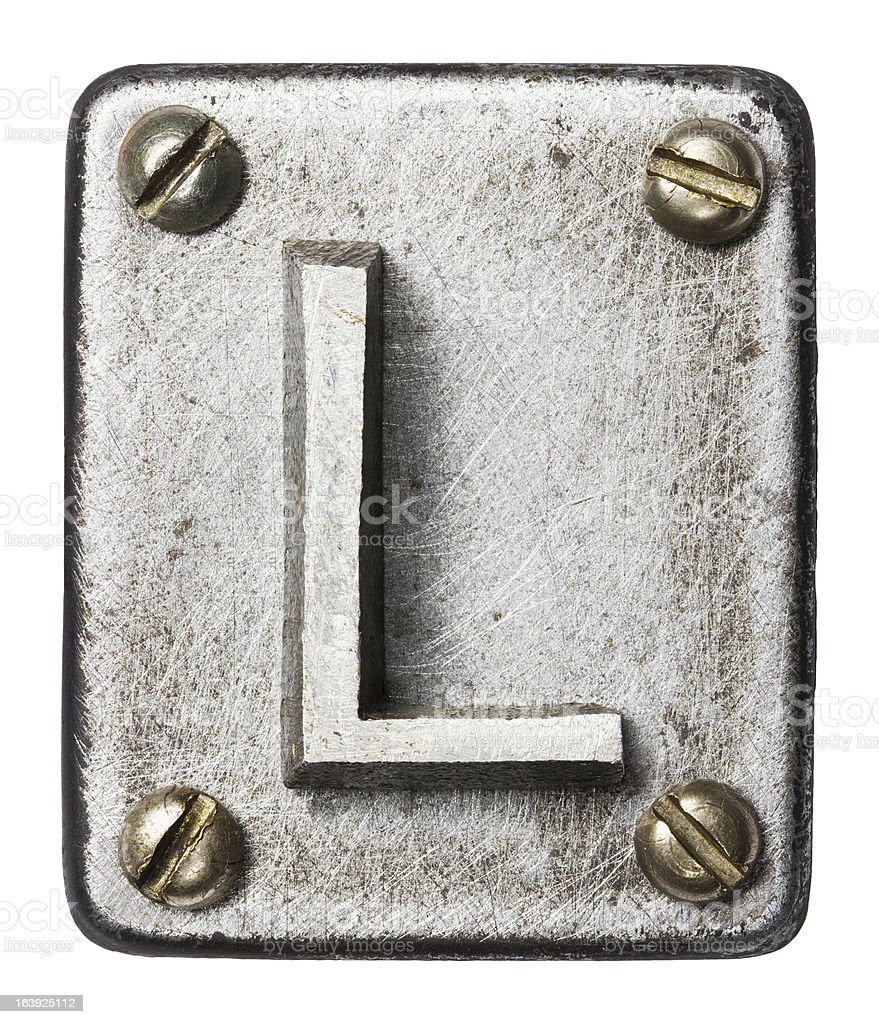 Metal letter plate of the letter L stock photo
