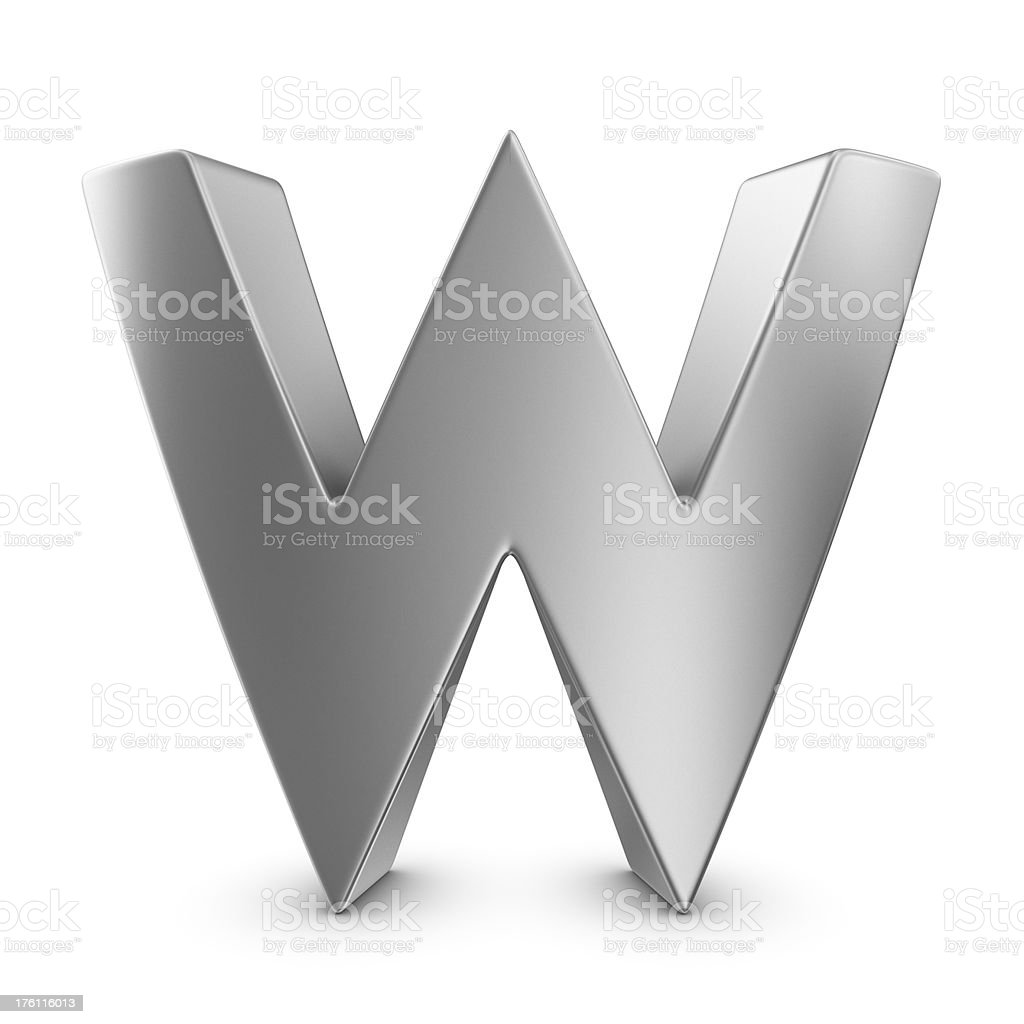 metal letter W stock photo