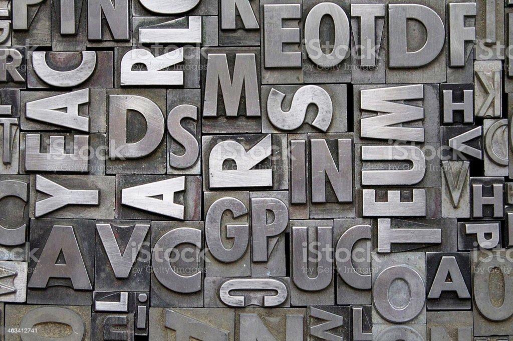 Metal Letterpress Type stock photo
