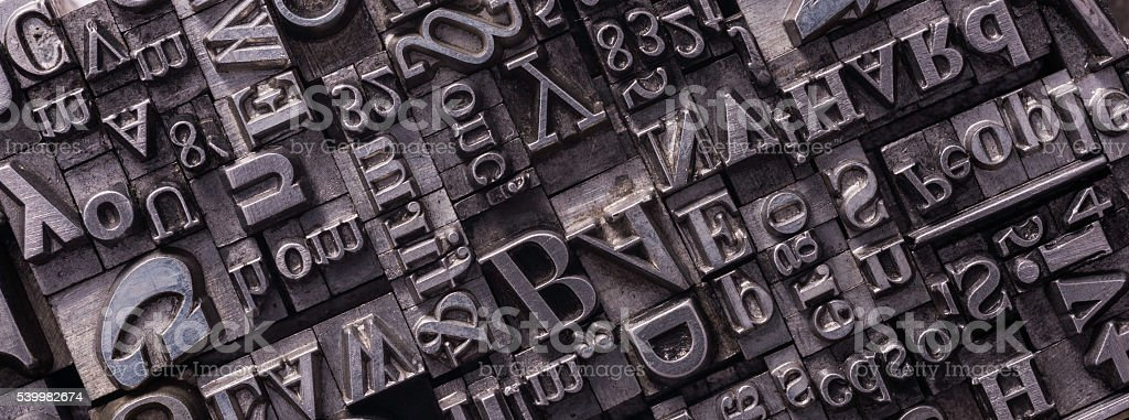 Metal Letterpress Types stock photo