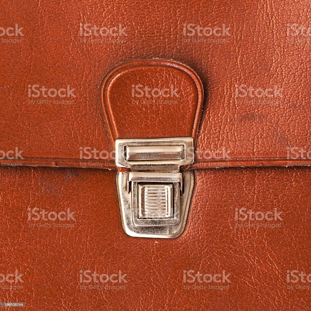 metal lock old red leather briefcase royalty-free stock photo