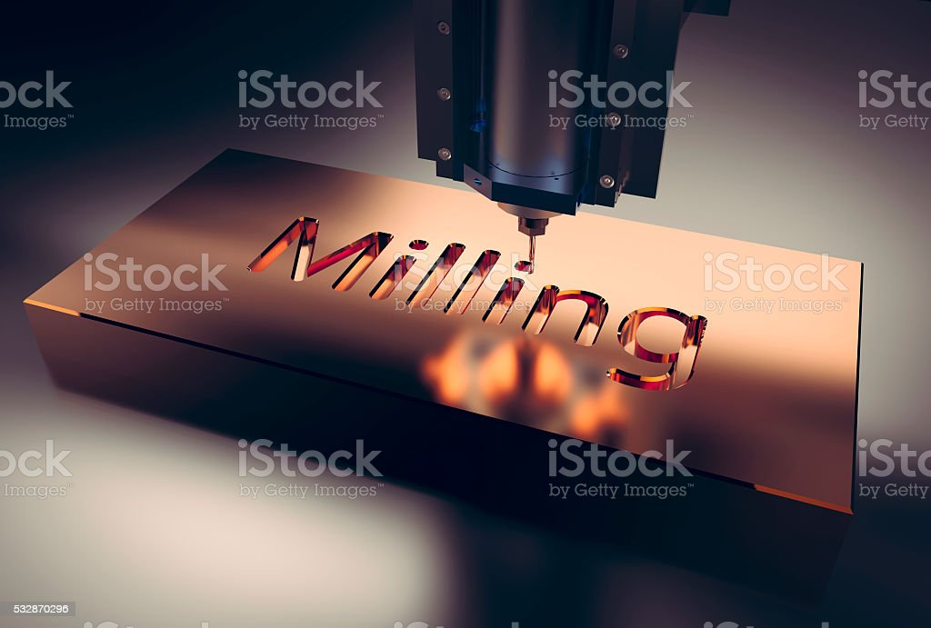 CNC metal machining by mill. stock photo