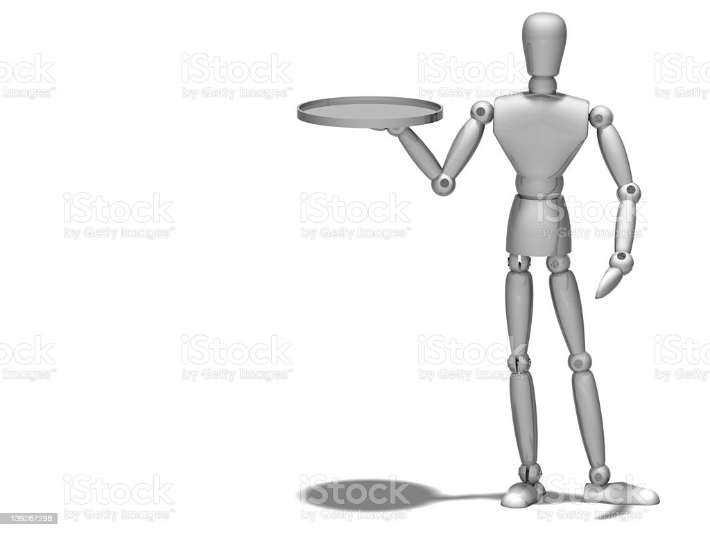 Metal Manikin/Mannequin or Robot with serving tray stock photo