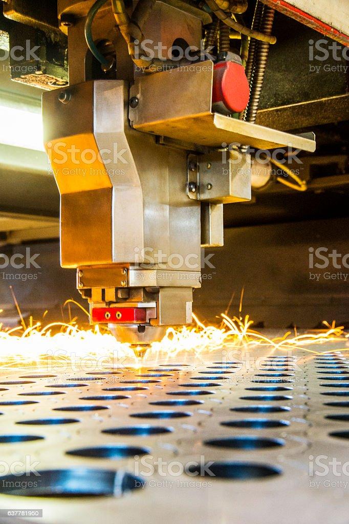 Metal manufacturing laser cutter stock photo