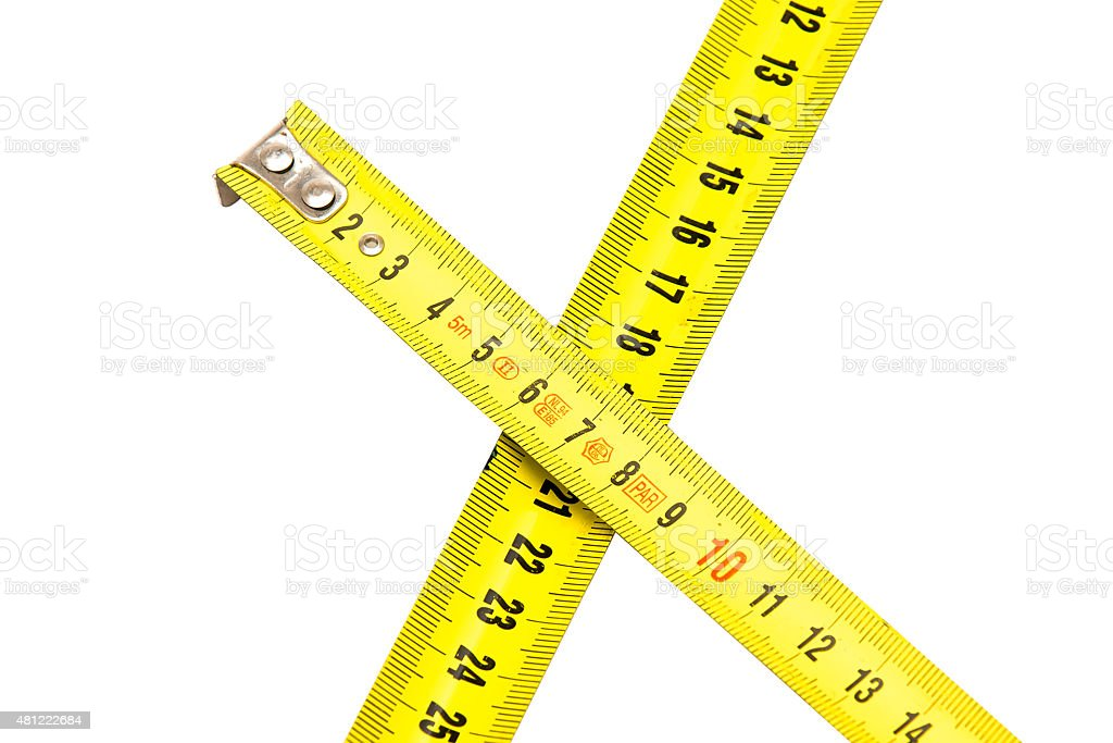 Metal measuring tapes isolated on white stock photo
