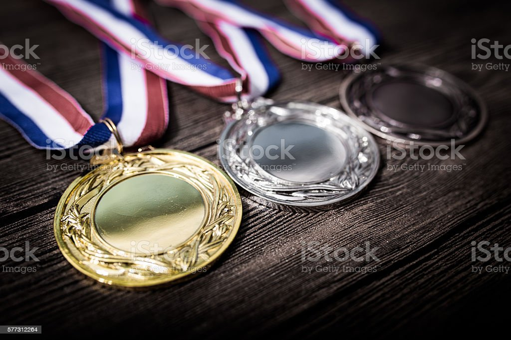 Metal medal on black background stock photo