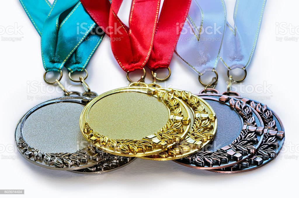 Metal medals for the first second and third place stock photo