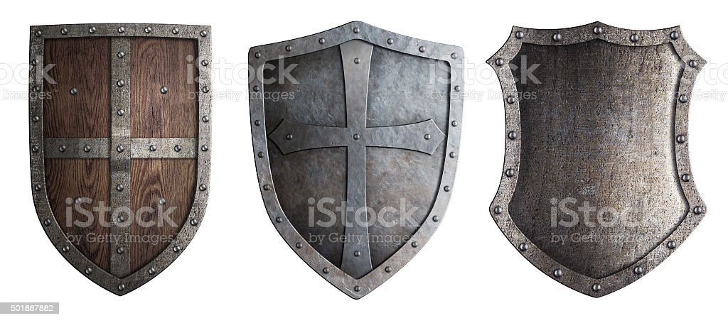 metal medieval shields set isolated stock photo