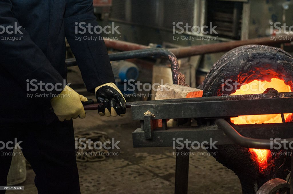 metal melting factory stock photo