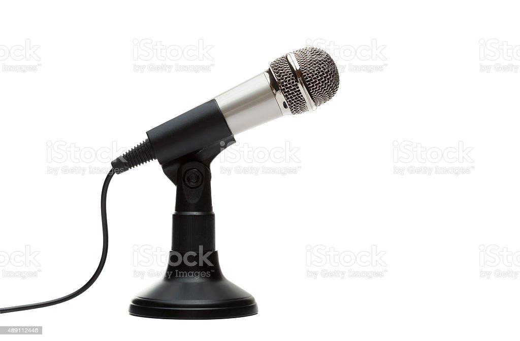 Metal microphone stock photo