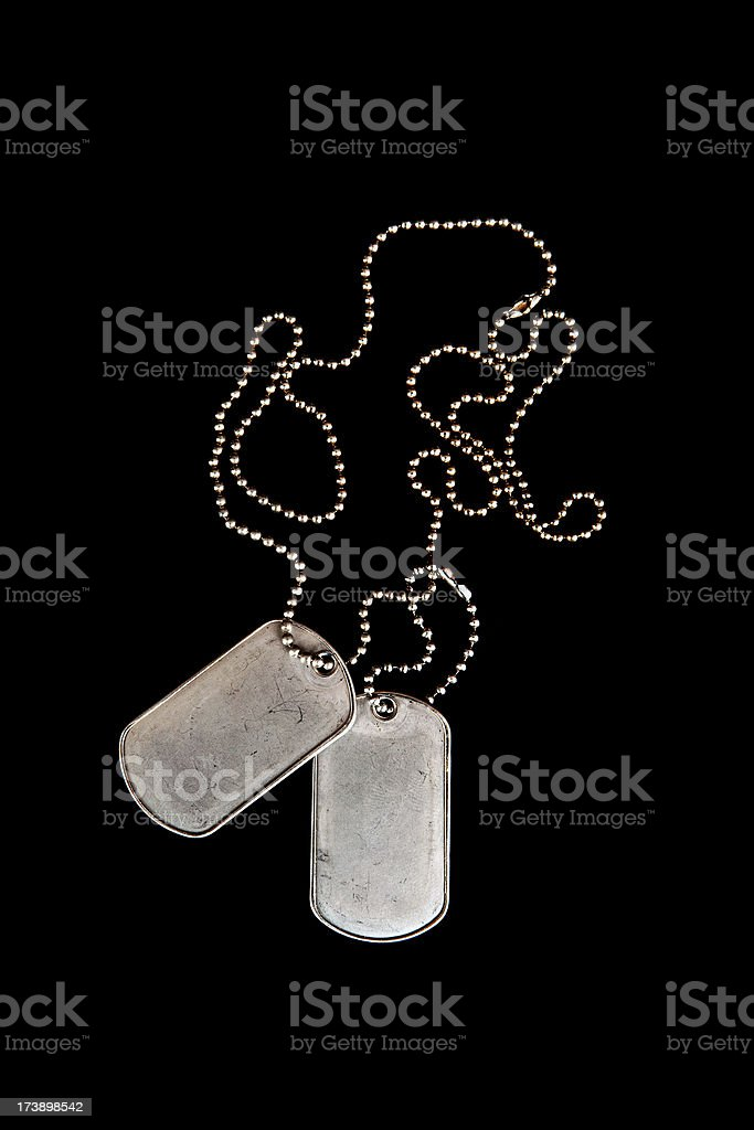 Metal military dog tags on chain royalty-free stock photo