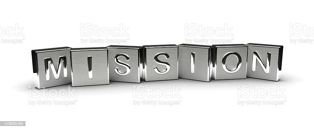 Metal Mission Text stock photo