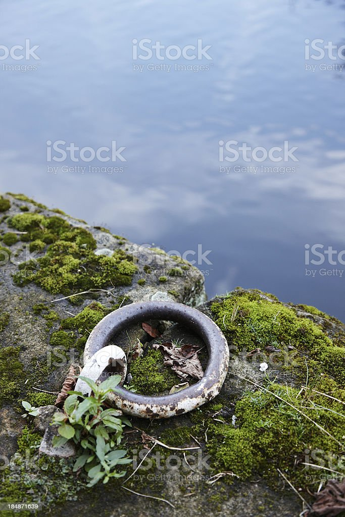 Metal mooring ring at side of canal royalty-free stock photo