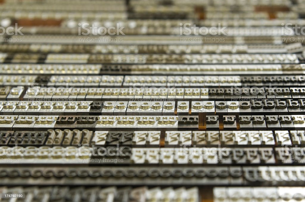 Metal movable type for print stock photo