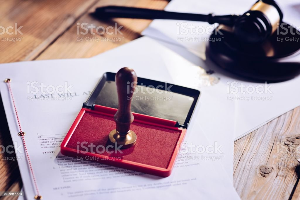 Metal notary public ink stamper stock photo