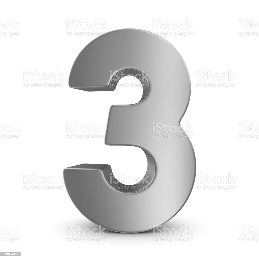 metal number 3 stock photo