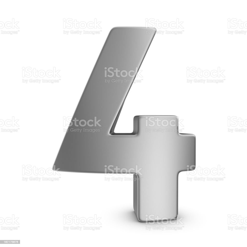 metal number 4 stock photo