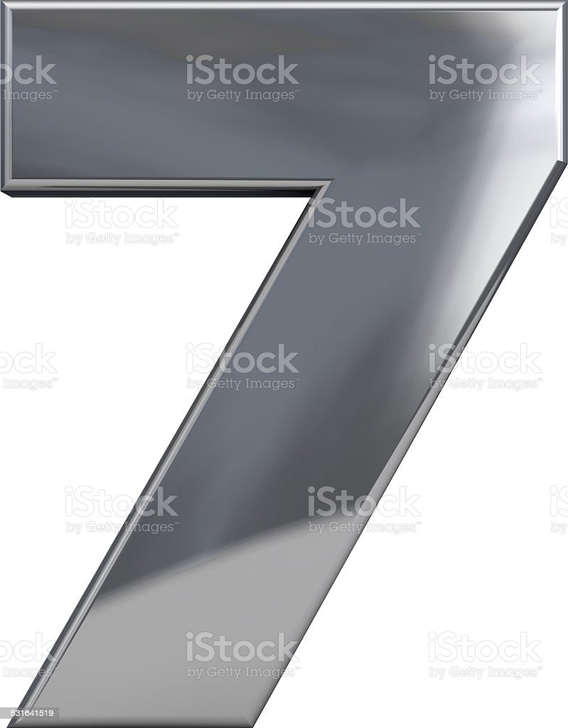 Metal Number 7 stock photo