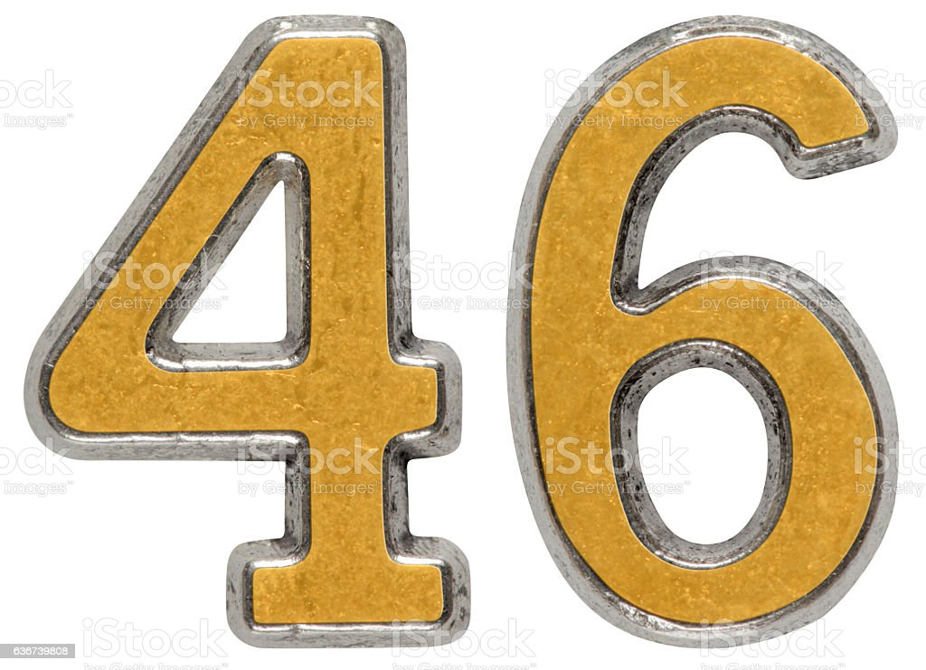 Metal numeral 46, forty-six, isolated on white background stock photo
