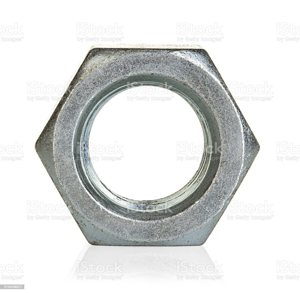 Metal nut isolated on white background stock photo