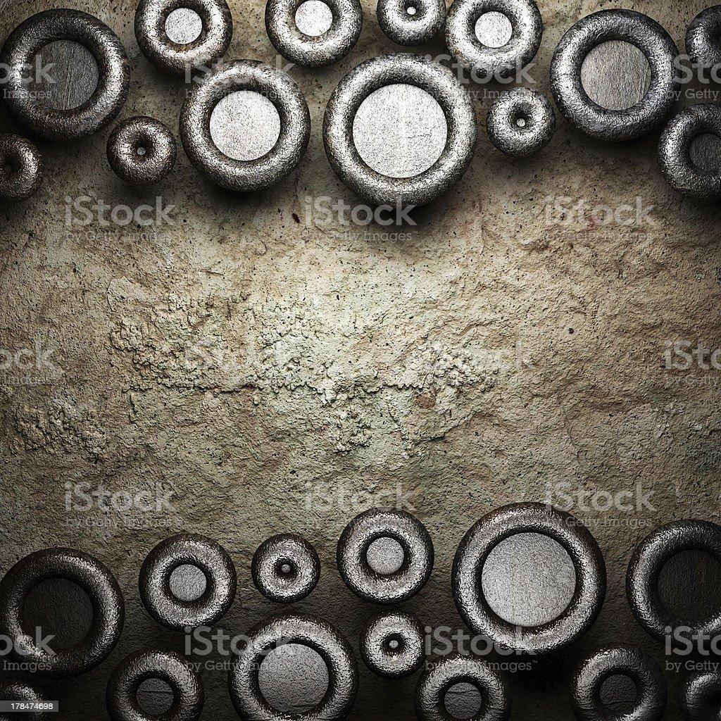 metal on stone wall royalty-free stock photo