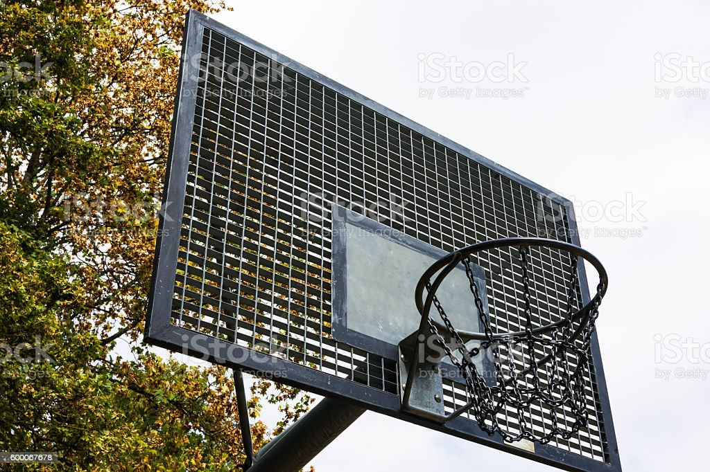 Metal Outdoors Park Basketball Court Backboard Net Chain Isolated stock photo