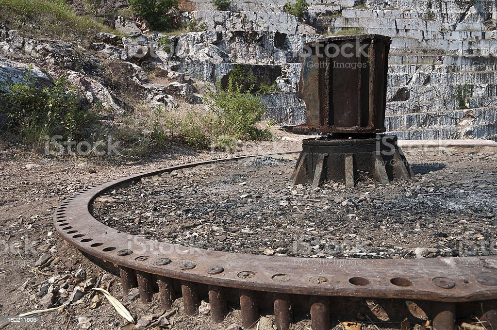 Metal part of machine in abandoned quarry royalty-free stock photo