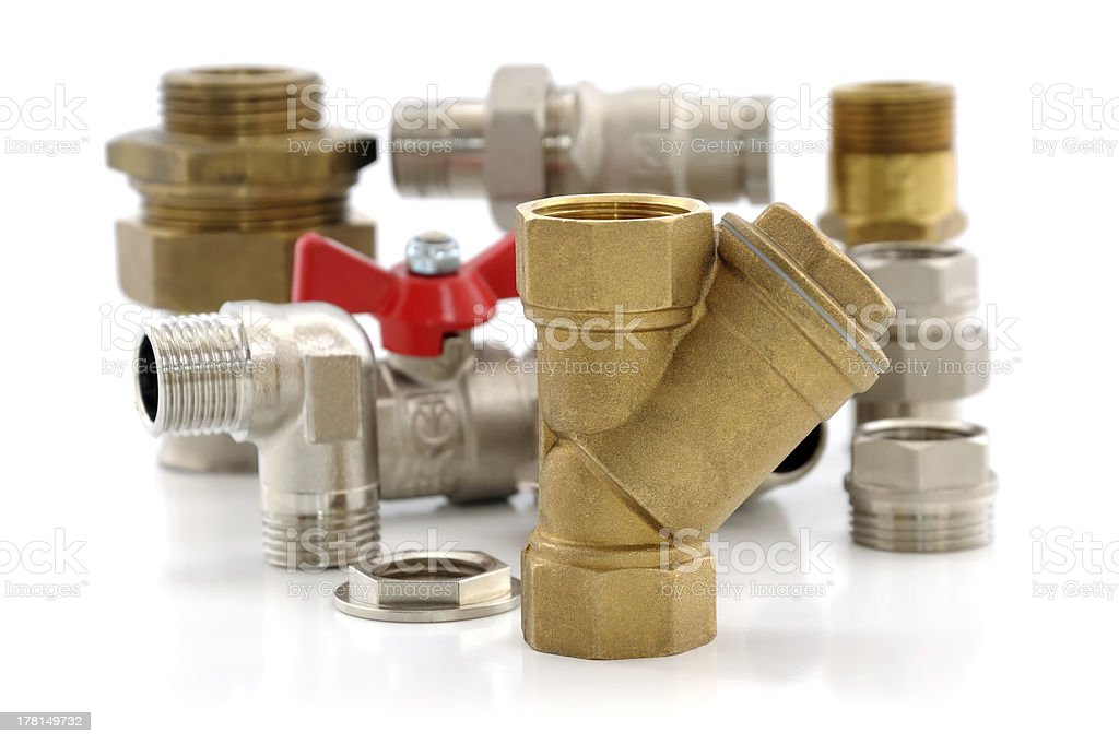 metal parts for plumbing and sanitary equipment royalty-free stock photo
