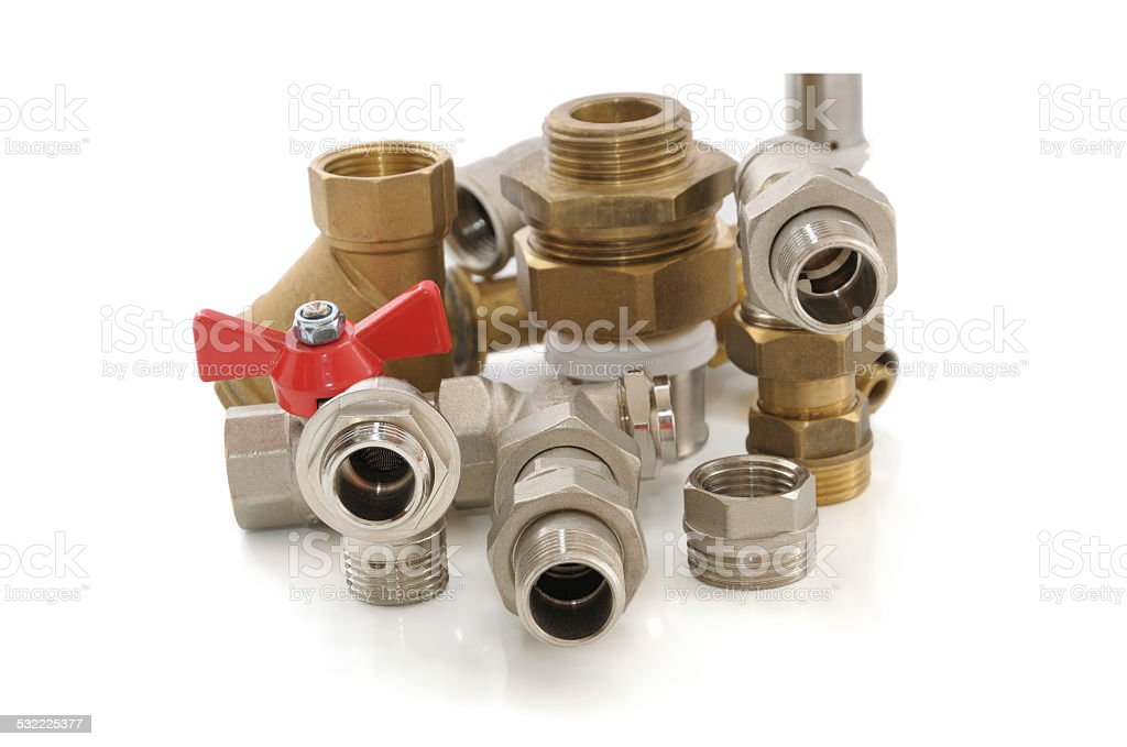 metal parts for plumbing and sanitary equipment stock photo
