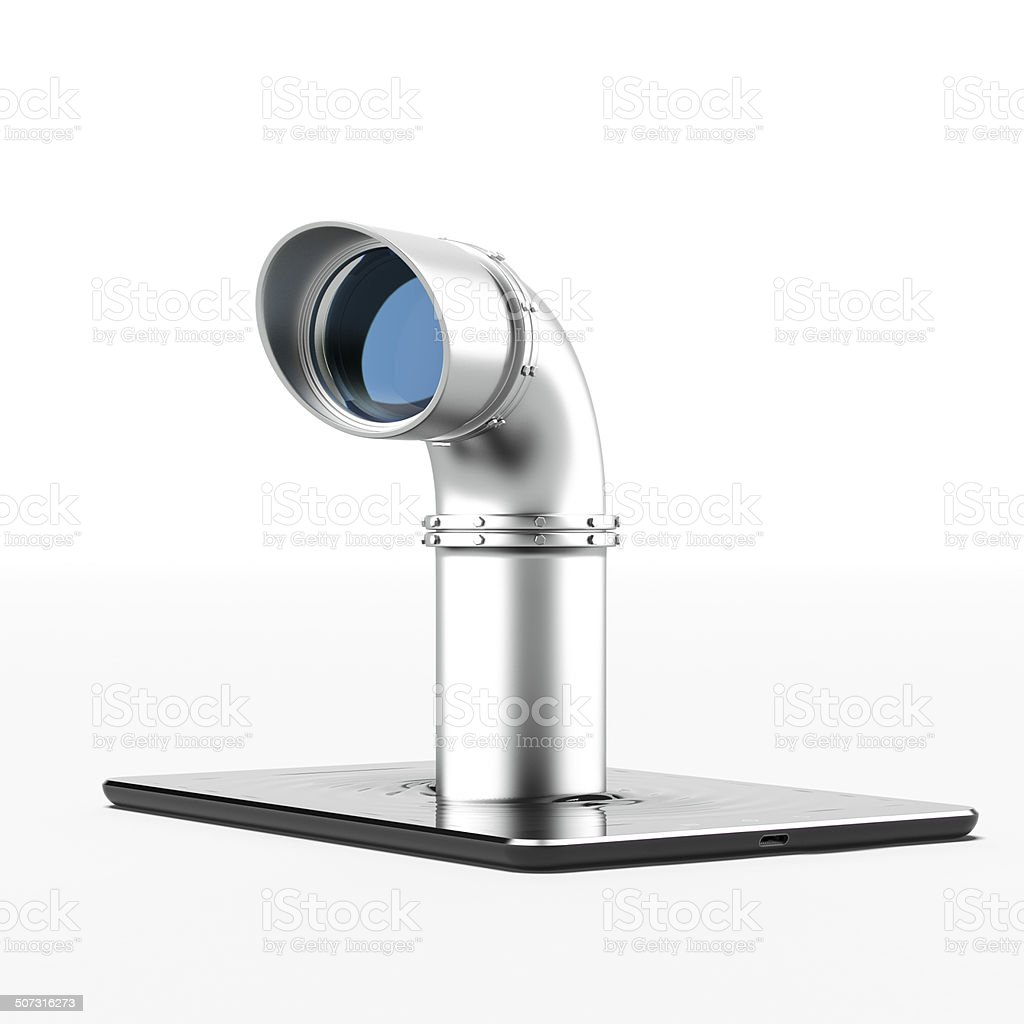 Metal periscope from tablet pc stock photo