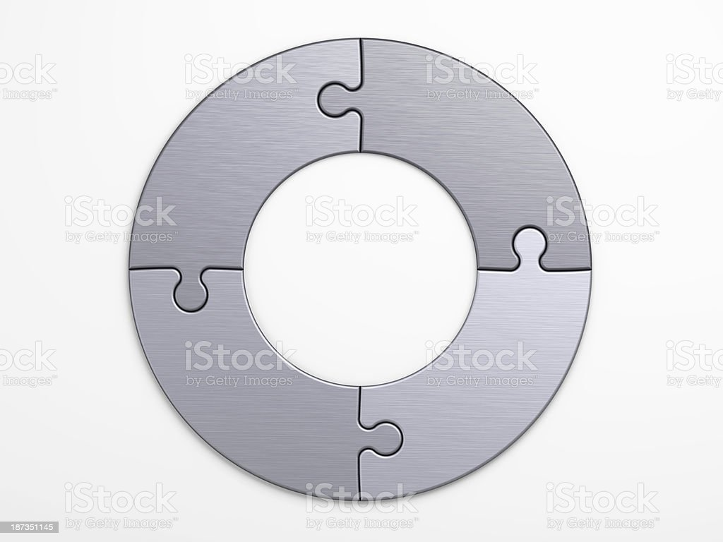 metal pieces of puzzle to place concepts with clipping path stock photo