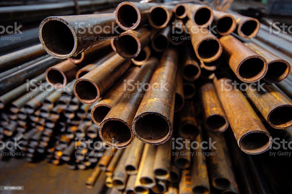 Metal pipe billets in stock stock photo