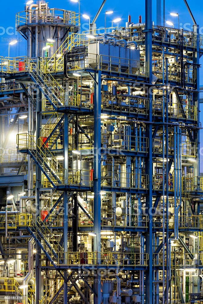 Metal Pipe Factory Installations, Oil Refinery Plant Area at Dusk stock photo